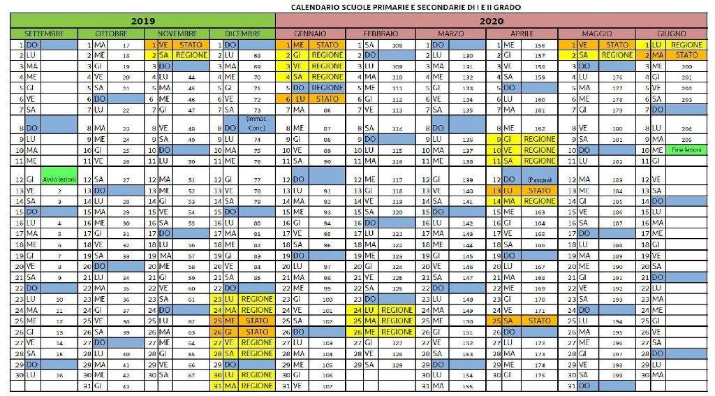 Calendario Regionale Scuola.Calendario Scolastico Collegio Della Provvidenza